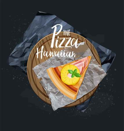 The Pizza Hawaiian slice without background. Vector graphics.