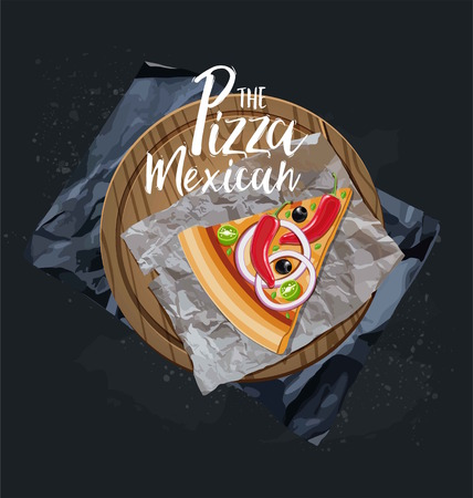 The Pizza Mexican slice without background. Vector graphics.