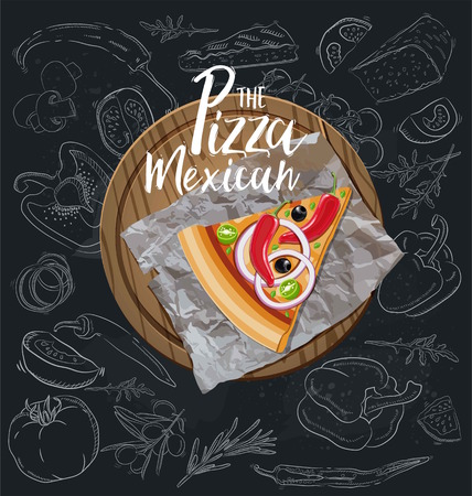 The Pizza Mexican slice with background. Vector graphics