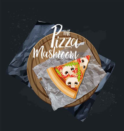 The Mushroom Pizza slice without background. Vector graphics.