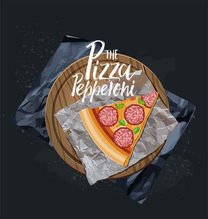 The Pepperoni Pizza slice without background. Vector graphics Illustration