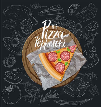 The Pepperoni Pizza slice with background. Vector graphics Illustration