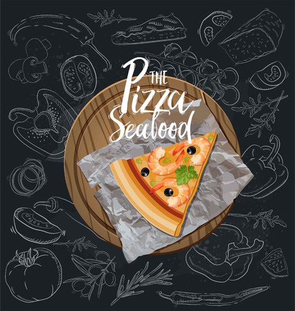 The Seafood Pizza slice with background. Vector graphics Illustration