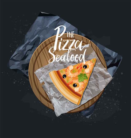 The Seafood Pizza slice without background. Vector graphics.