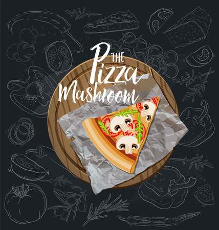 The Mushroom Pizza slice with background. Vector graphics