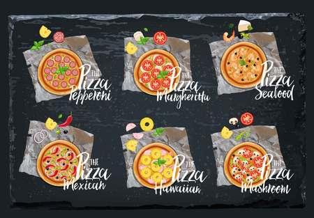 Pizza set. Vector graphics on black background Illustration