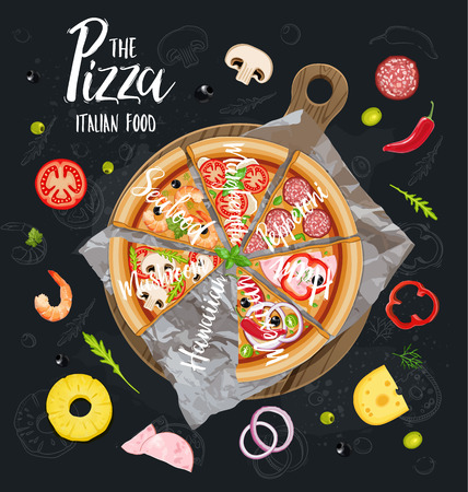 The Pizza Itallian slices without background. Vector .