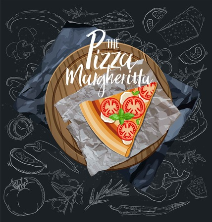 The Pizza Margherita slice with background. Vector graphics.