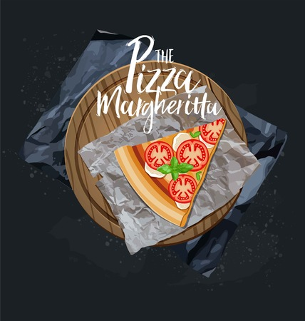 The Pizza Margherita slice without background. Vector graphics.