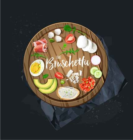 Make your bruschetta. All ingredients are ready. Vector graphics Illustration