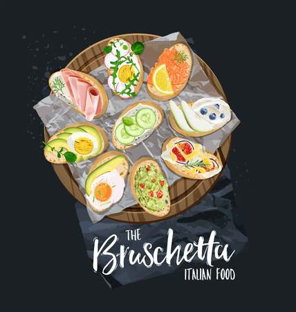 Bruschetta with different toppings served. Vector graphics.