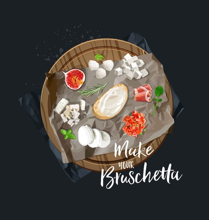 Make your bruschetta. All components are ready. Vector graphics