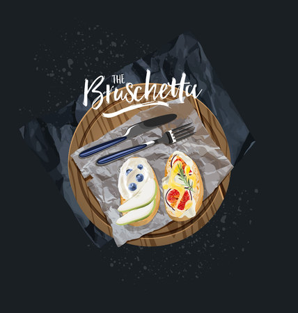 Vegetarian bruschetta with blueberries and figs are served. Vector graphics