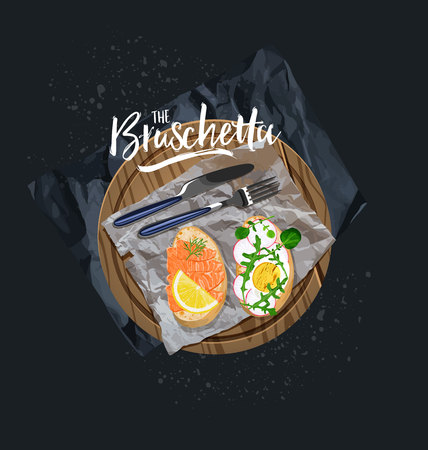 Bruschetta with salmon and bruschetta with egg. Vector graphics Illustration