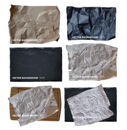 Set of parchment paper. Vector background Çizim