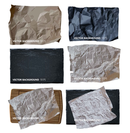 Set of parchment paper. Vector background Illustration