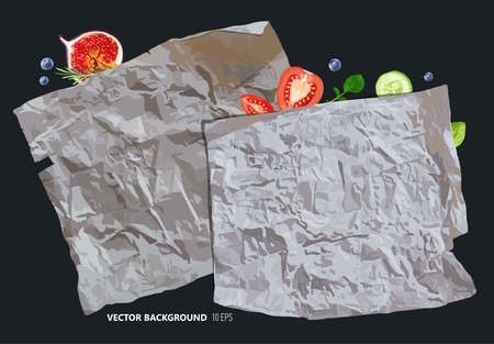 Vintage parchment paper with fruits. Vector background