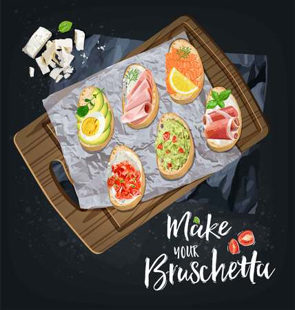 Bruschetta with different fillings are prepared. Vector graphics
