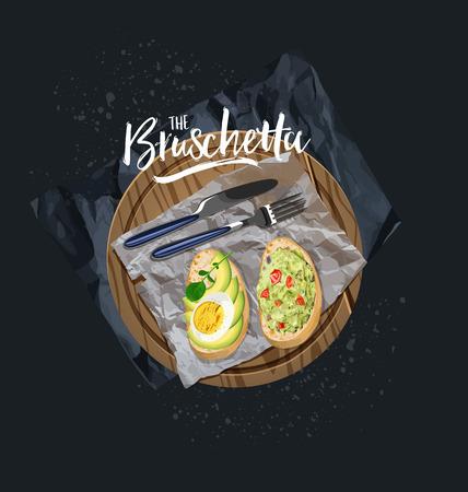 Bruschetta with avocado, egg and bruschetta with tomato, herbs served. Vector graphics