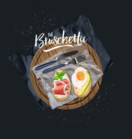 Bruschetta with avocado, egg and bruschetta with bacon served. Vector graphics Çizim