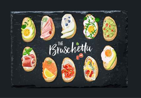 Set bruschetta with different toppings. Vector graphics. Illustration