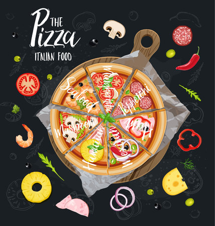 The Pizza Itallian slices without background. Vector Çizim