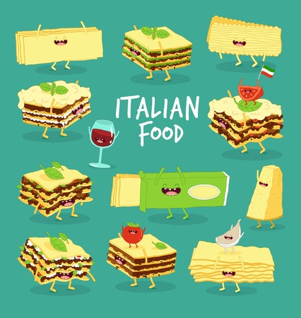 Italian food set. Lasagna, cheese and wine. Vector graphics.