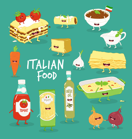 Italian food set. Lasagna and flavouring. Vector graphics.
