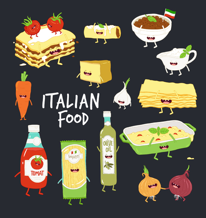 Italian food set. Lasagna and flavouring. Black background. Vector graphics.