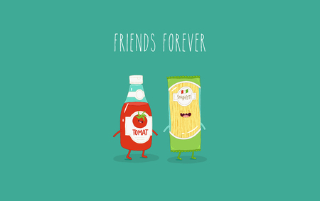 Spaghetti and ketchup are best friends. Vector graphics Illustration