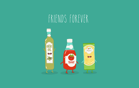 Spaghetti, olive oil and ketchup are friends. Vector graphics