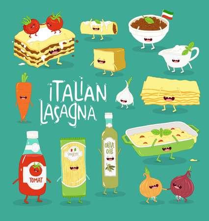 Italian food set. Lasagna and her friends. Vector graphics. Çizim