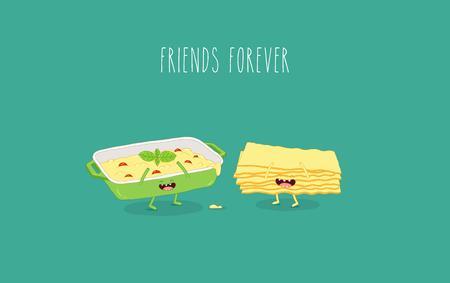 Italian food set. Lasagna and lasagna sheets. Vector graphics.
