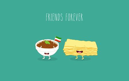 Italian food set. Lasagna sheets and beef. Vector graphics. Çizim