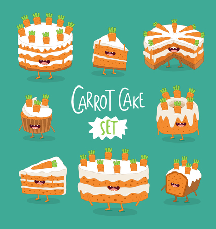 Set of funny carrot pies. Vector graphics