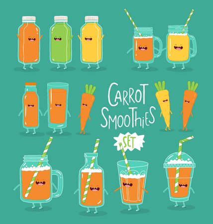 Set of cheerful smoothies with carrots. Vector graphics Çizim