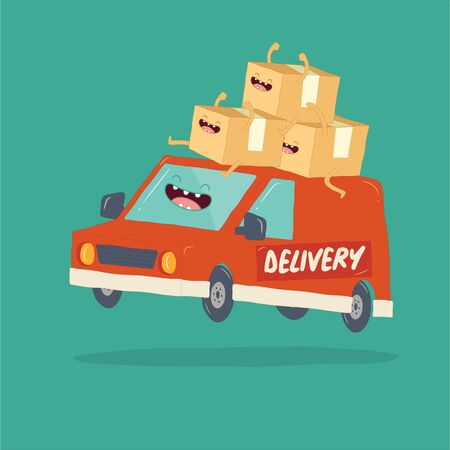 Your package rushes to you on the delivery van. Vector graphics Illustration