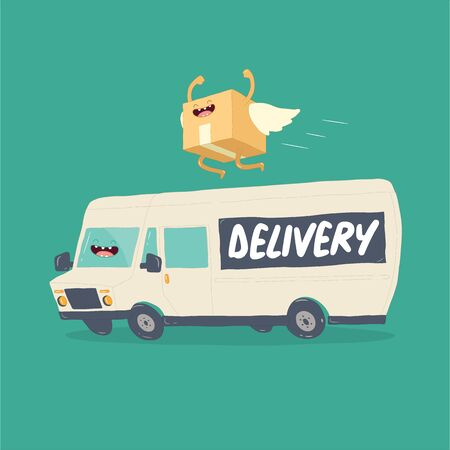 Your package rushes to you on the delivery van. Vector graphics. Vectores
