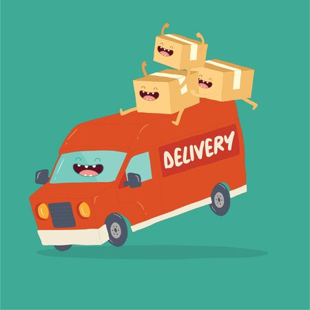 Your package rushes to you on the delivery van. Vector graphics Vectores