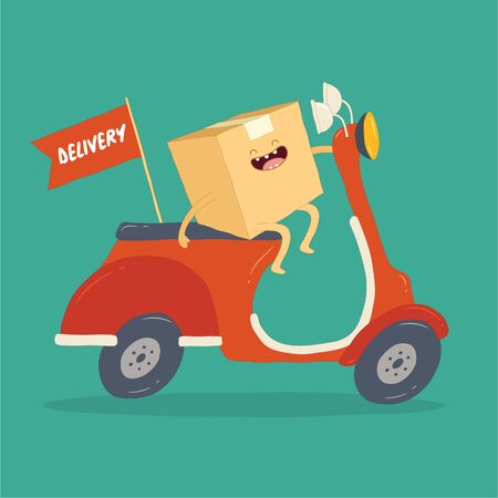 Your package rushes to you on the courier scooter. Vector graphics. Vectores
