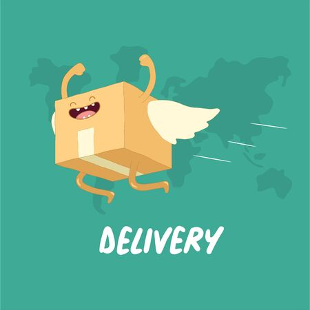 Your package rushes to you through the whole world. Vector graphics.