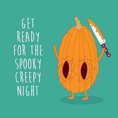 Funny pumpkins wish you a happy halloween. Vector graphics. Çizim