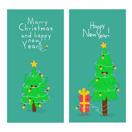 Christmas trees and giftbox are congratulated on the new year. Vector graphics