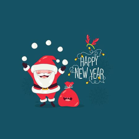 Santa congratulates on the new year. Vector graphics Standard-Bild - 134822208
