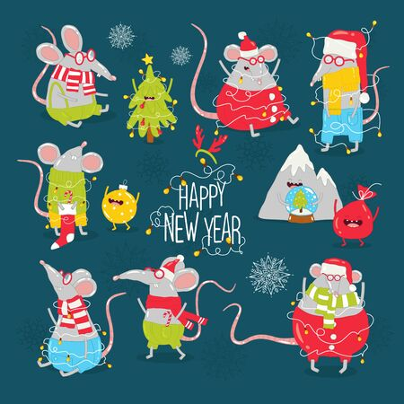 New Years card with funny rats. Vector graphics.
