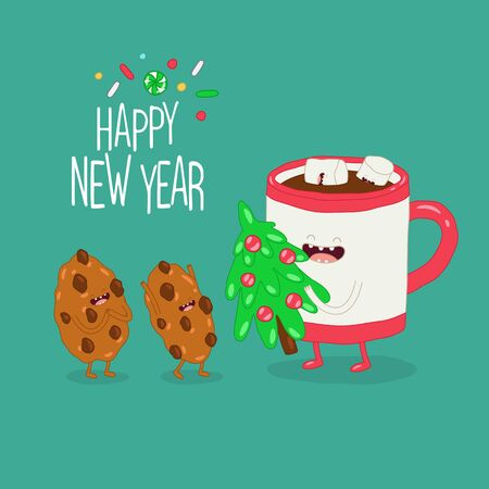 Mug and cookies are congratulated on the new year. Vector graphics.