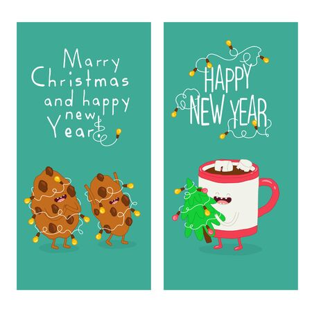 Mug and cookies are congratulated on the new year. Vector graphics