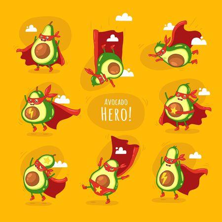 Funny cartoon character of avocado super hero.