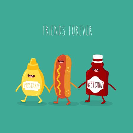 The vector illustration. Fast food. Friends forever. Hot dog with funny ketchup and mustard.