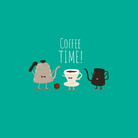 These friends will help you enjoy aromatic coffee. Vector illustration. Use for the menu, in the shop, in the bar, the card or stickers. 矢量图像